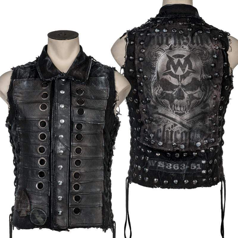 Wornstar Clothing Ghost Salvaged Series custom vest. Layered denim and leather with custom printing.
