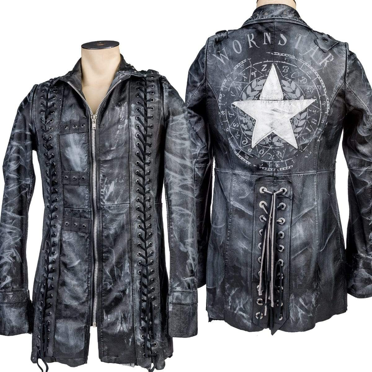 Wornstar Clothing White Star custom jacket. Patchwork leather with custom printing.