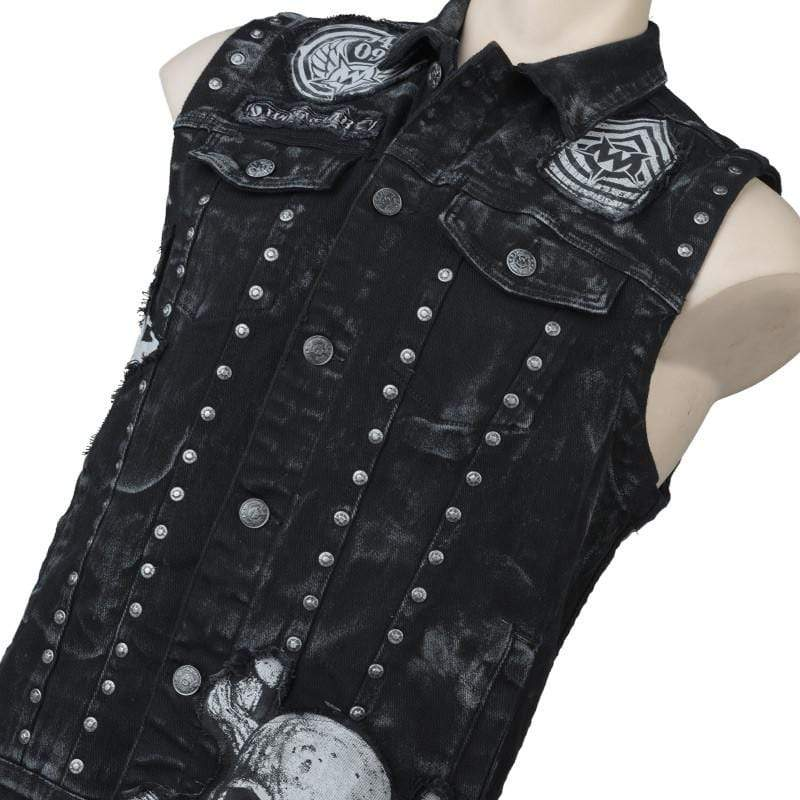 Black Denim Vest - Adamant Patchwork MTO