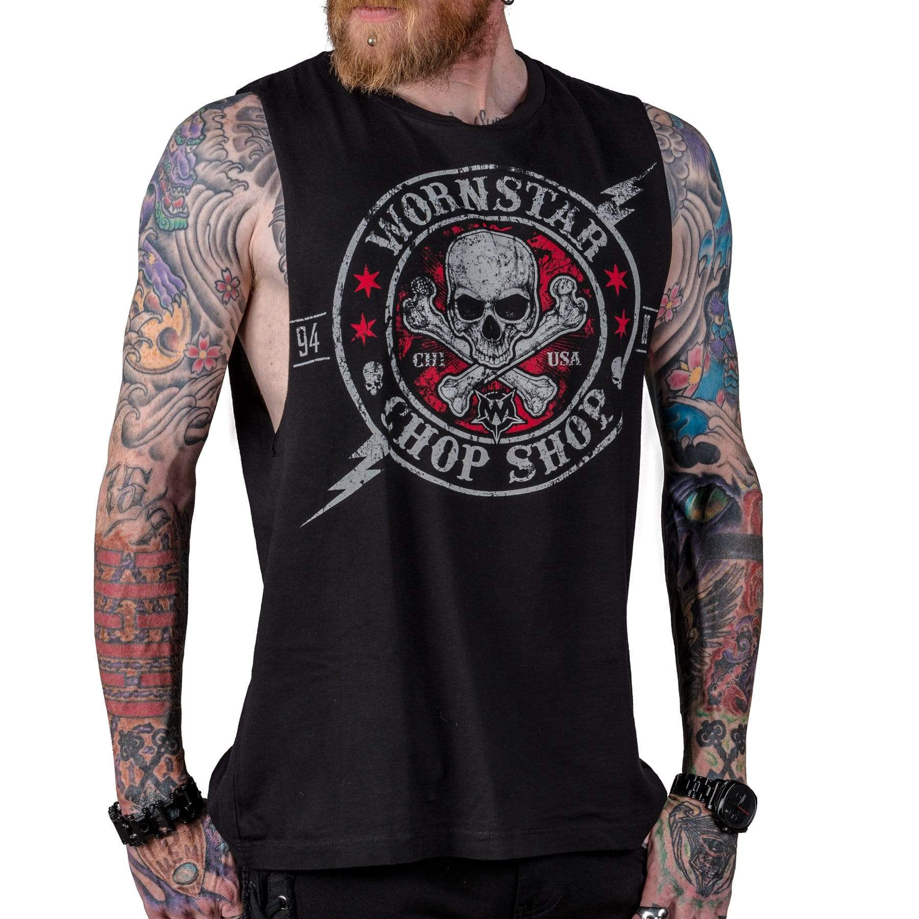 Wornstar Clothing Electric custom cut tee with printed skull graphic.
