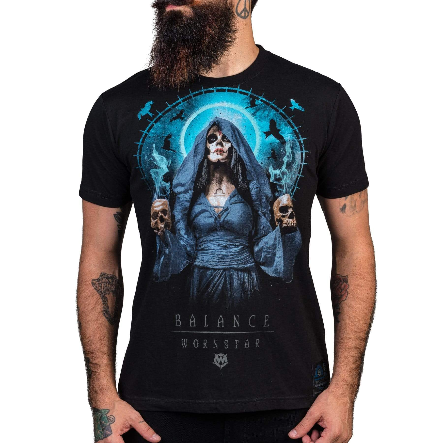 Wornstar Clothing Balance tee with printed catrina girl sugar skull graphic.