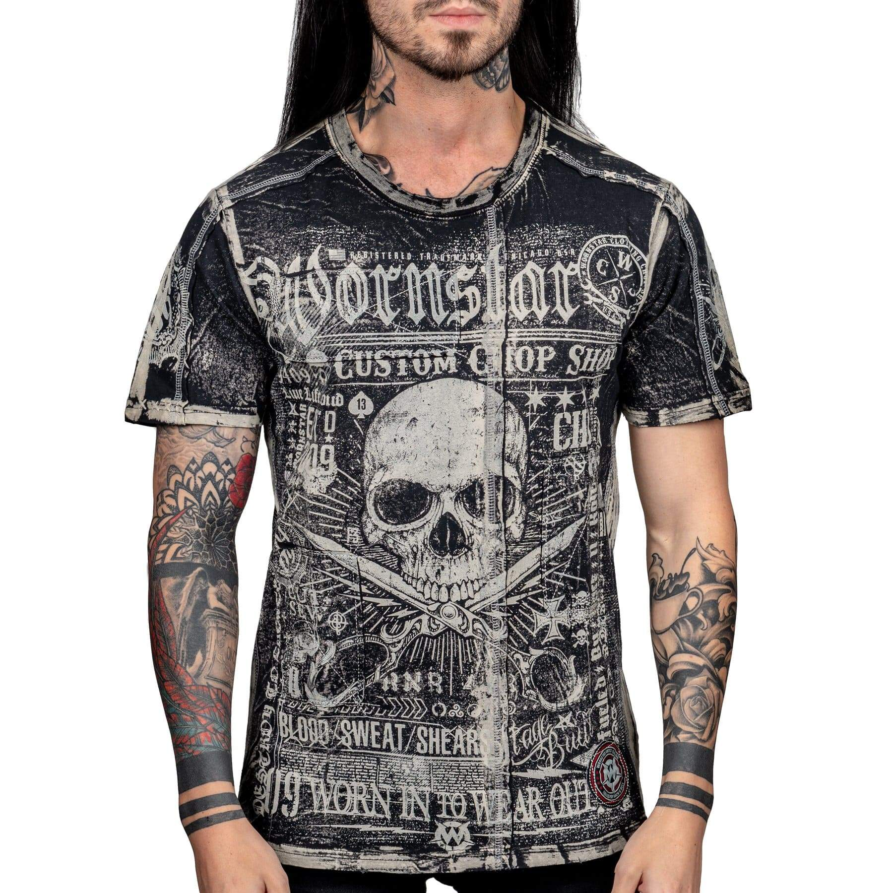 Wornstar Clothing Blood Sweat and Shears tee with printed skull scissors graphic.