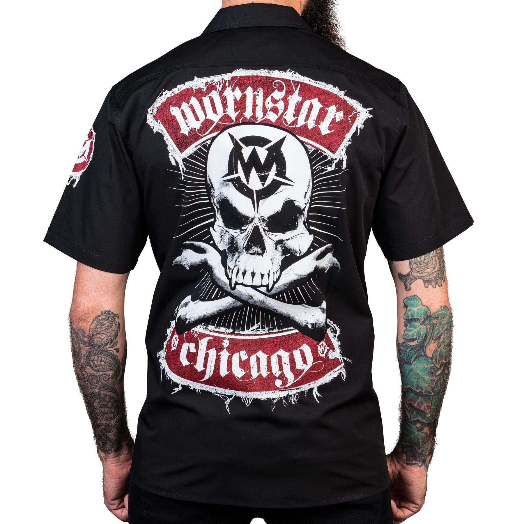 Wornstar Clothing Chicago Skull short sleeve work shirt back with printed skull graphic.