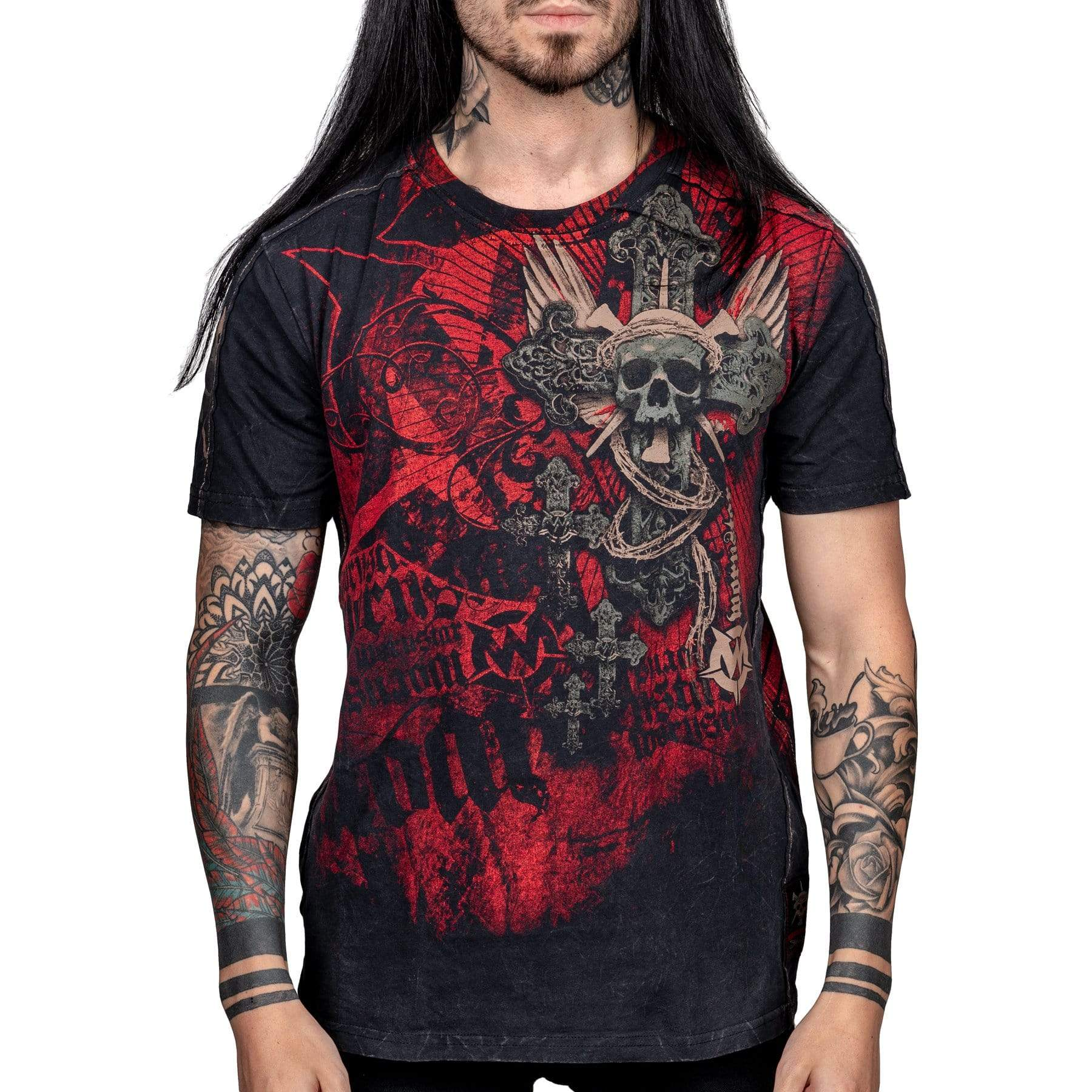 Wornstar Clothing Resurrection tee with printed skull, wings and cross graphic.