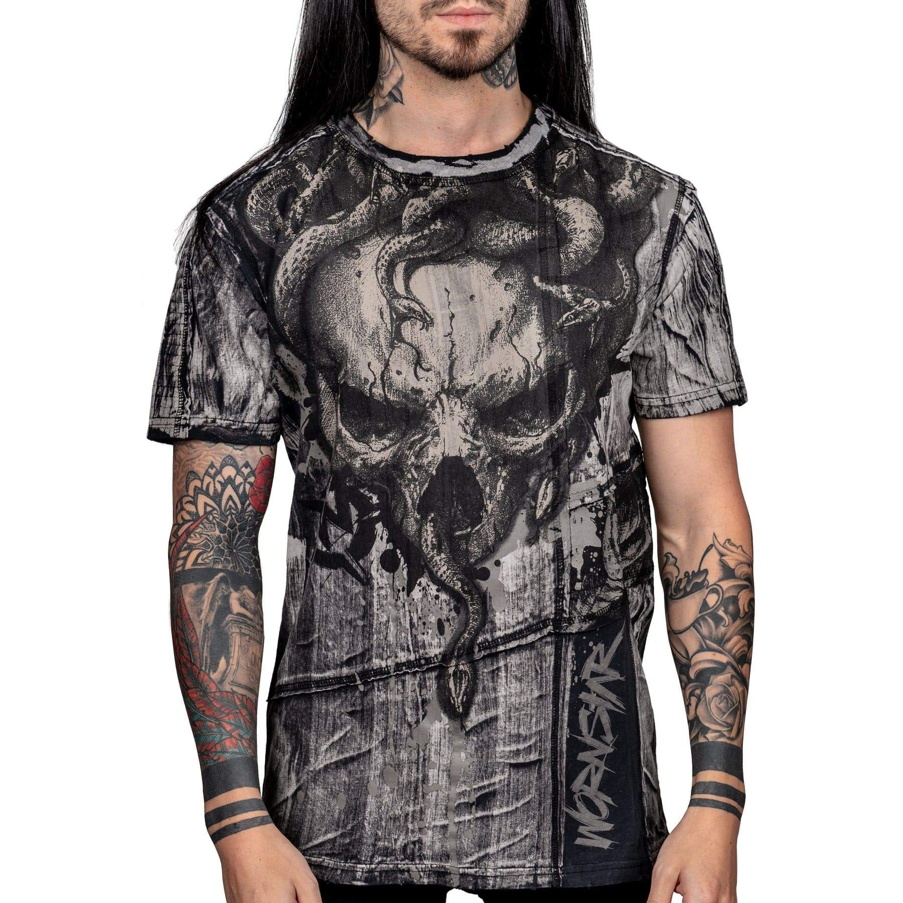 Wornstar Clothing Stheno tee with printed skull and snakes graphic.
