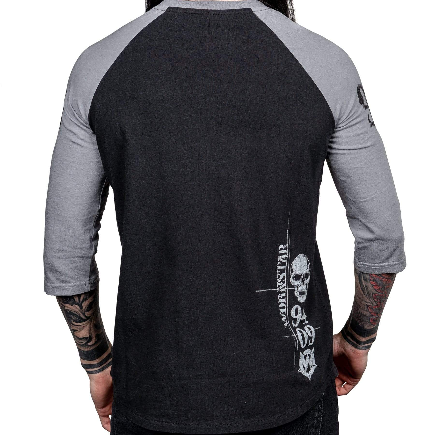 Wornstar Clothing Vengeance raglan tee black with gray sleeves and skull and wings graphic.