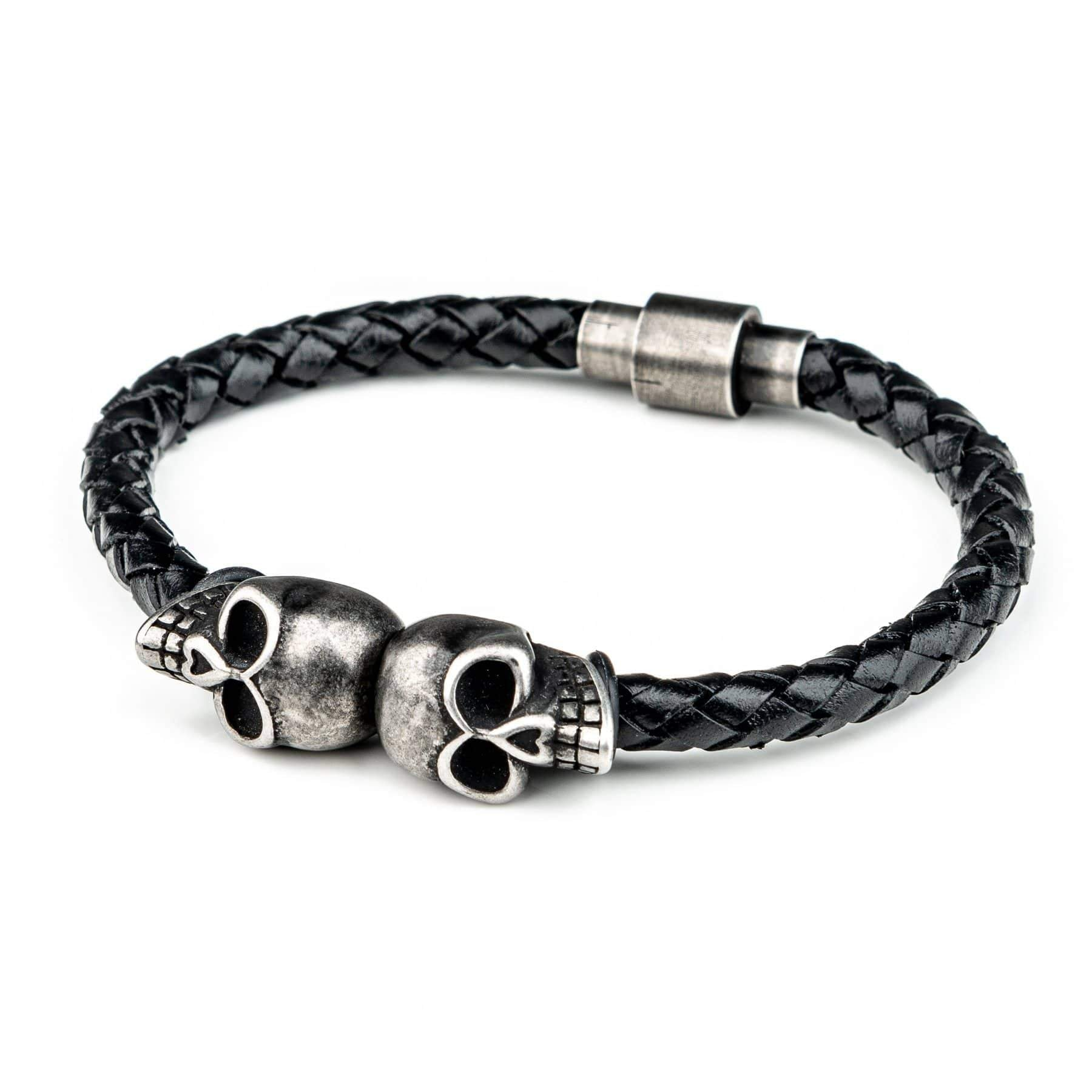 Wornstar Clothing Challenger stainless steel skull bracelet with leather cord.