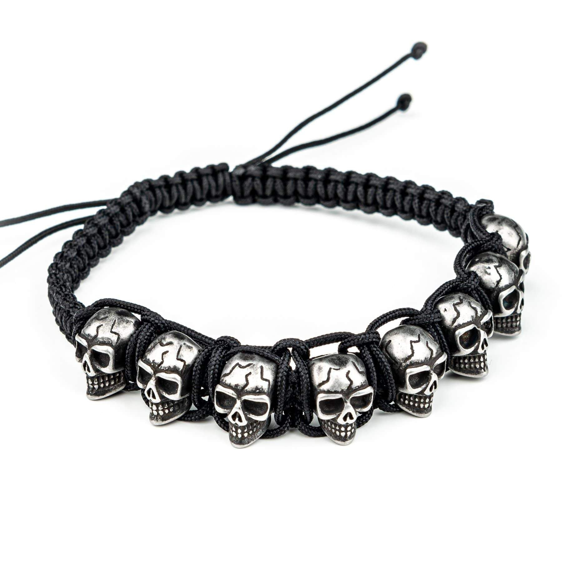 Wornstar Clothing Confirmed stainless steel skull bracelet with braided nylon cord.