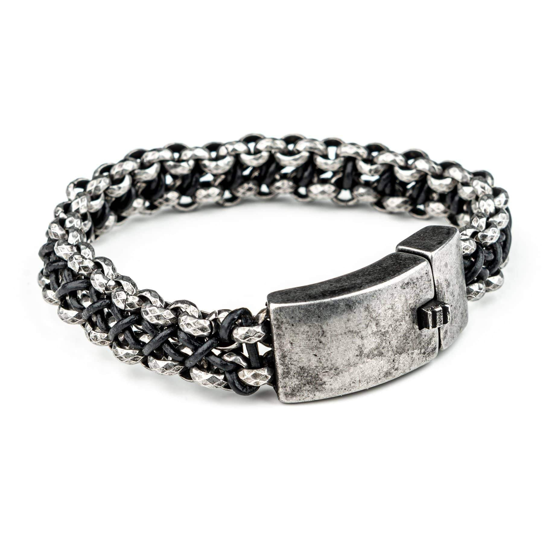 Wornstar Clothing Double Nexus stainless steel chain bracelet with braided leather.
