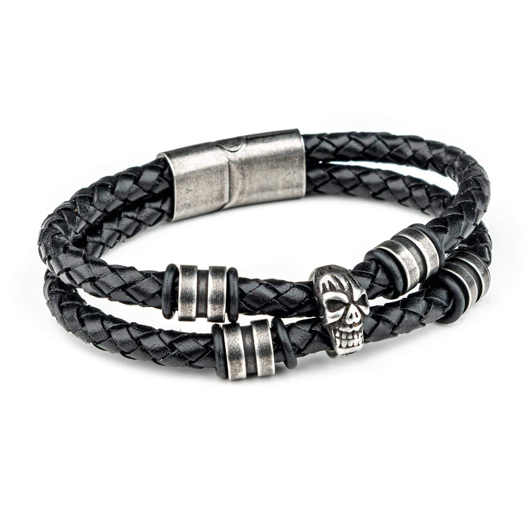 Wornstar Clothing Healer stainless steel skull and beads bracelet with leather cord.