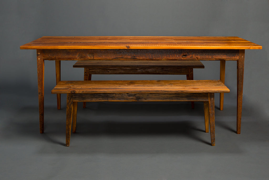 Super Antique Heart Pine Signature Farm Table With Benches Gmtry Best Dining Table And Chair Ideas Images Gmtryco