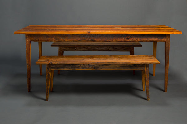 Antique Heart Pine Signature Farm Table with Benches