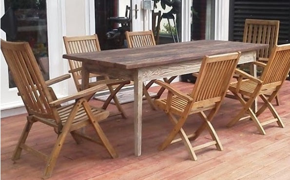 Outdoor Dining Table with white wash base