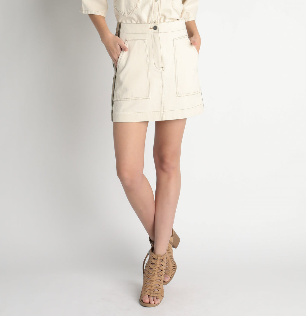 Off white denim mini skirt with embellished side
