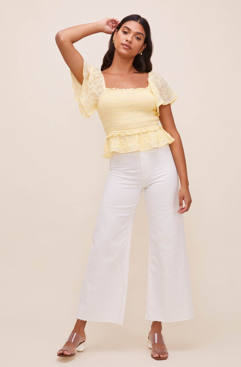 Pastel Yellow Flutter Top