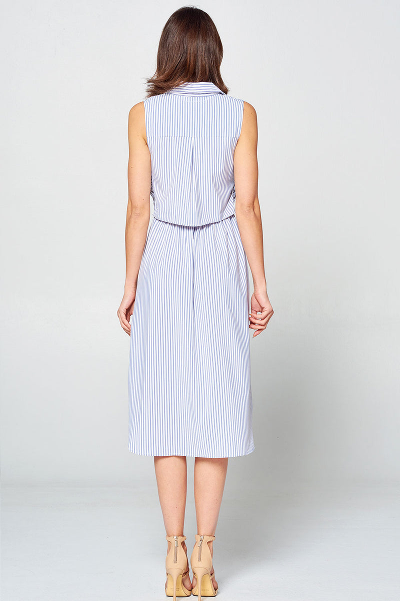 Light Blue Collared Tie Up Dress