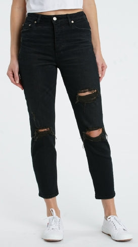 Black Distressed High Rise Mom