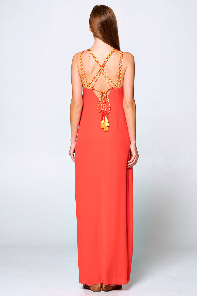 Tomato open back and tassel detail maxi