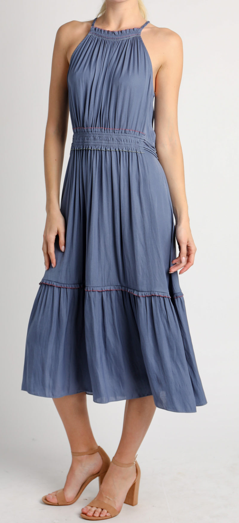 Dusty Blue Halter Dress