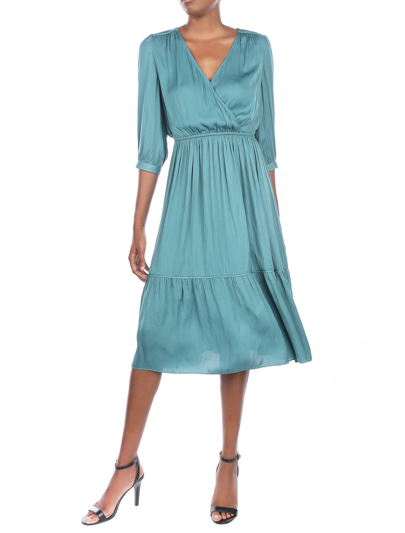 Turquoise Wrap Mdi Dress