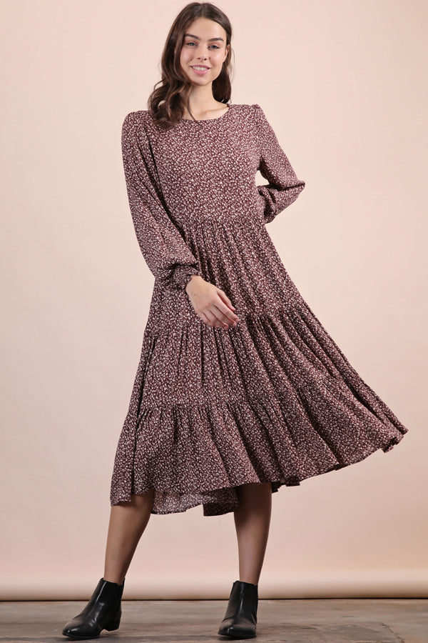 Long Sleeve Crinkle Midi