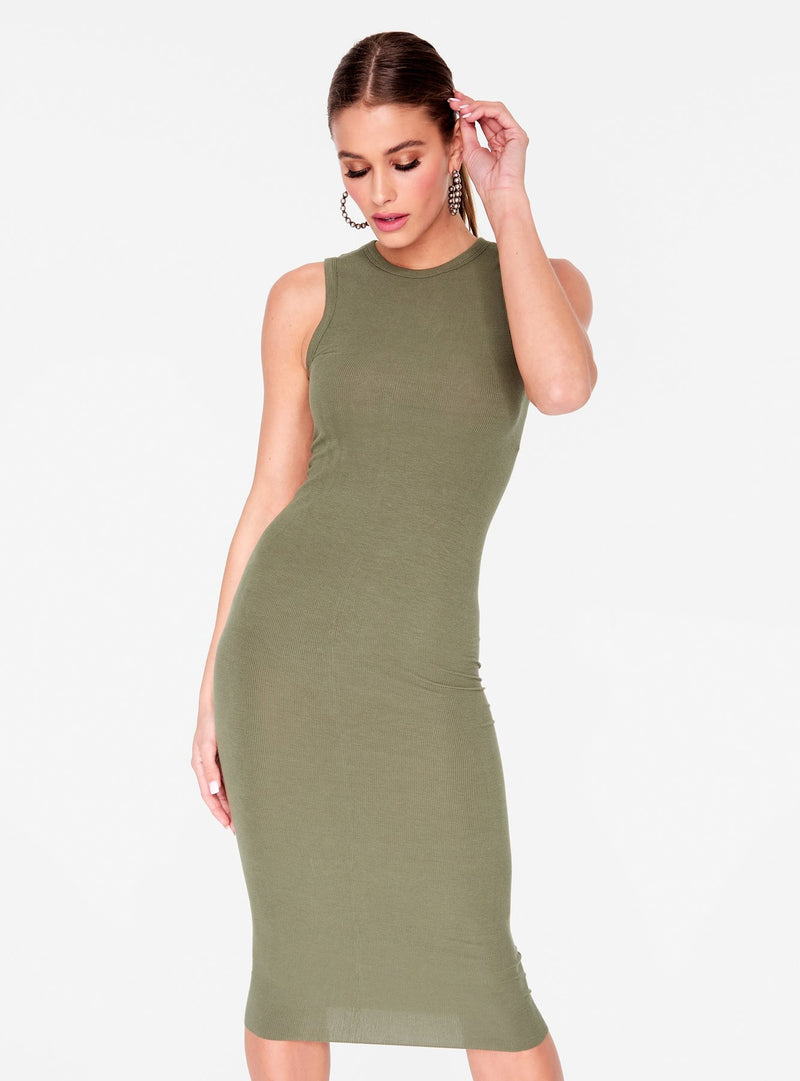 Olive Ribbed Fitted Midi Dress