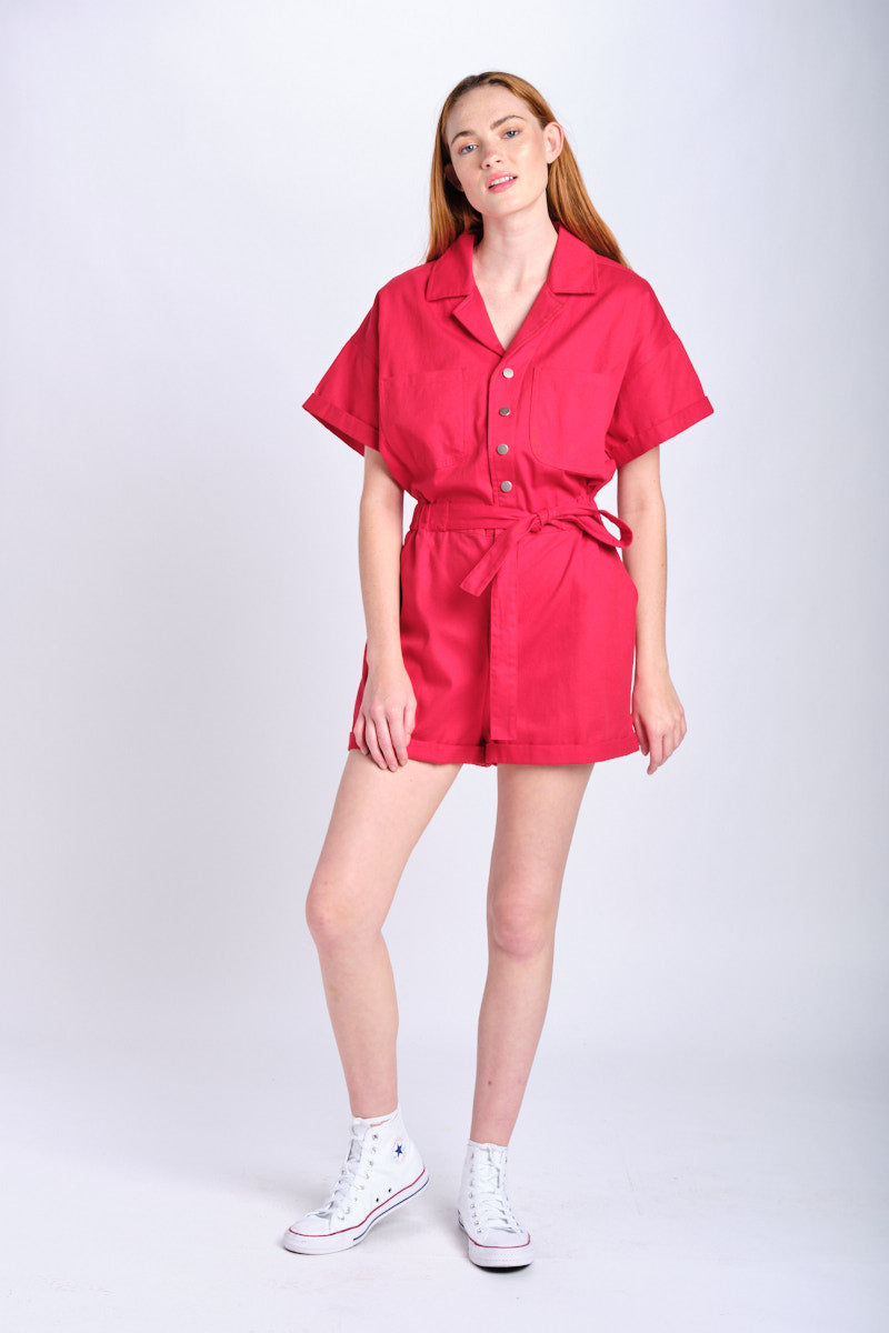 Red Utility Romper