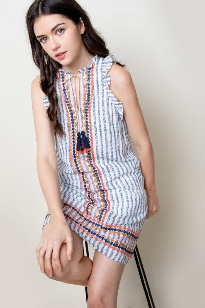 Striped Embroidered Dress