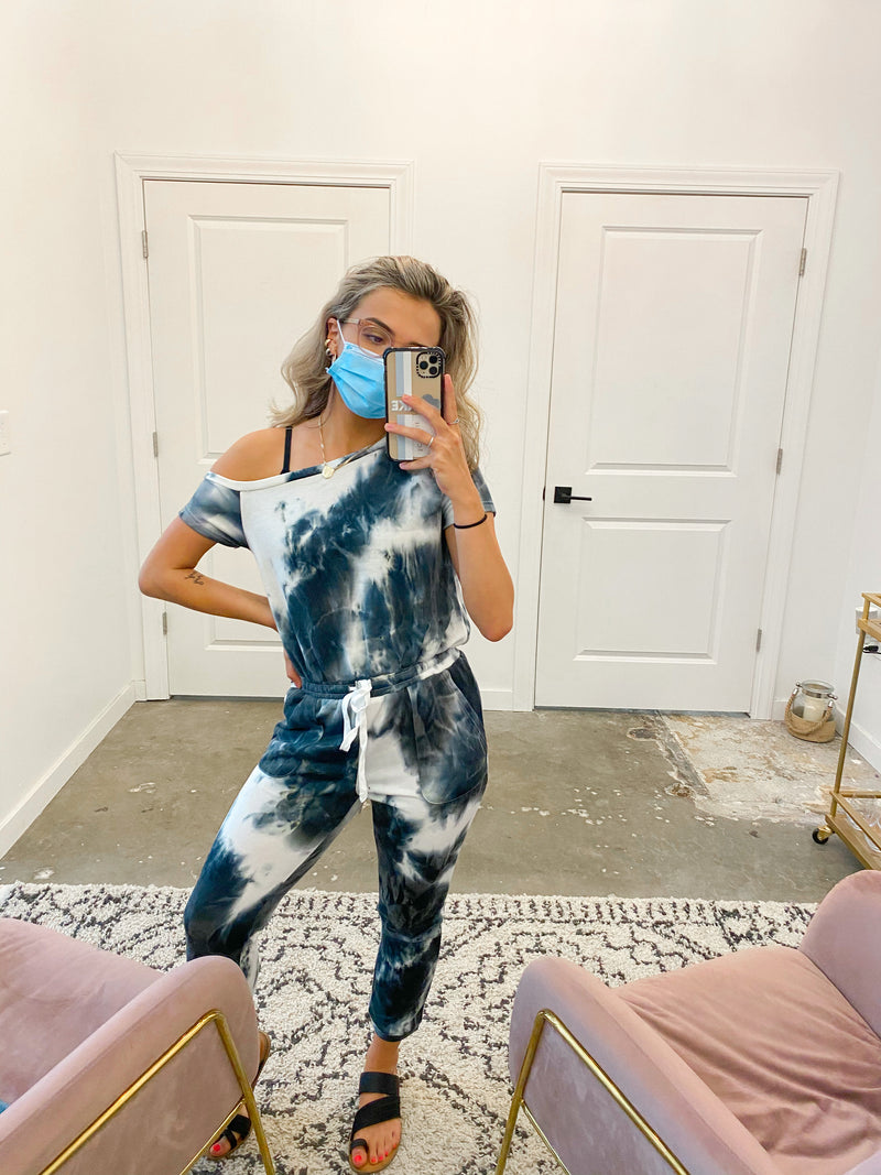 Off Shoulder Tie Dye Jumpsuit
