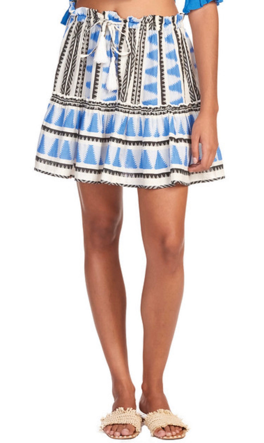 Blue Aztec Ruffle Skirt