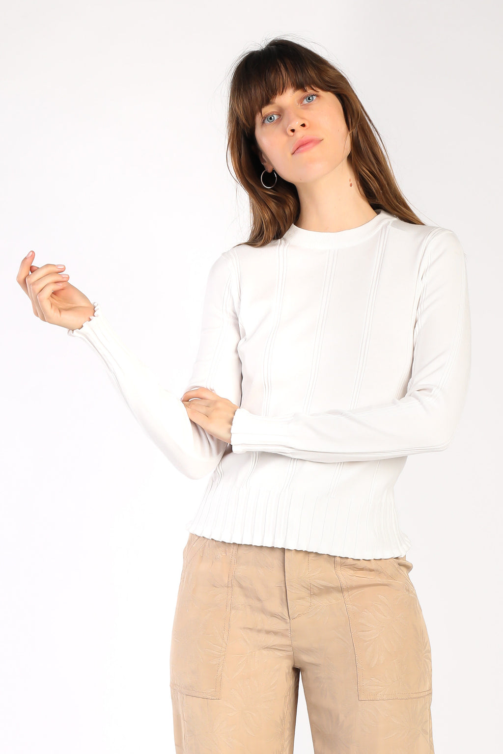 White Fitted Knit Top