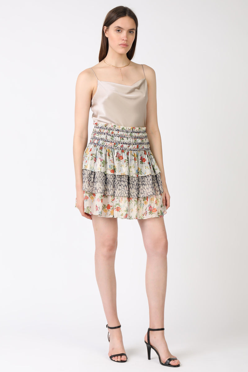 Smocked Waist Tiered Short Skirt