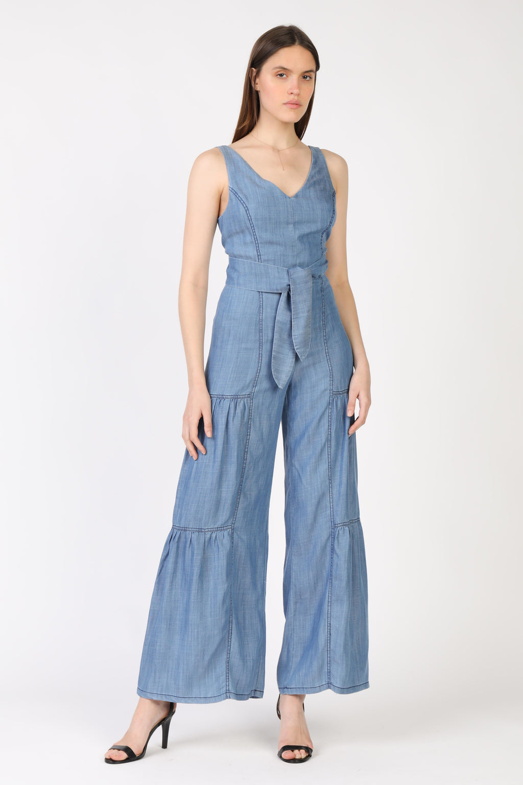Chambray Tiered Jumpsuit