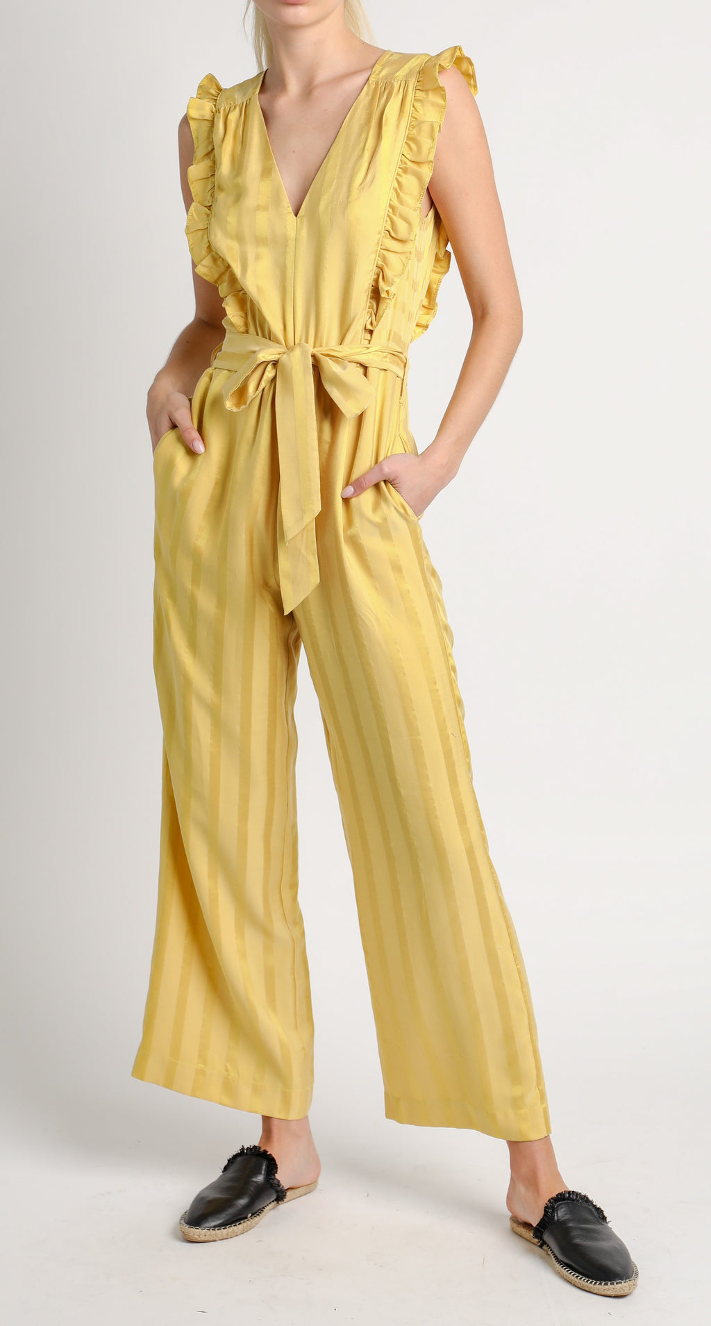 Canary yellow ruffle jumpsuit