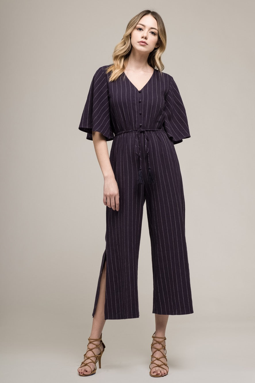 Navy and white striped jumpsuit