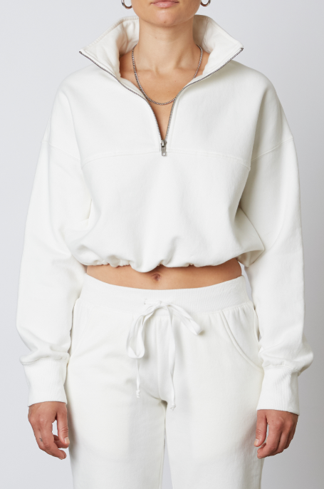 White Cinched Quarterzip