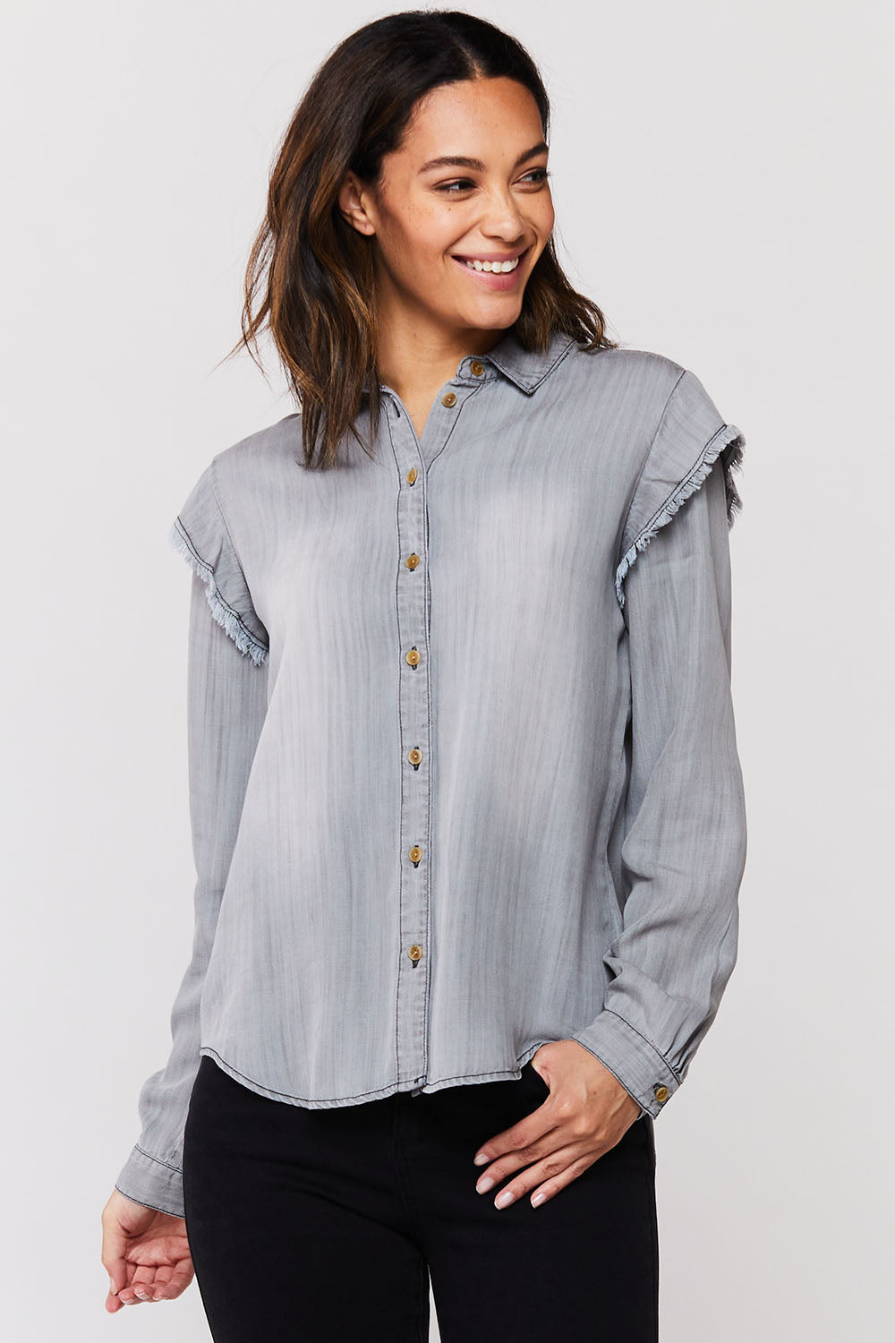 Grey Button Up Top