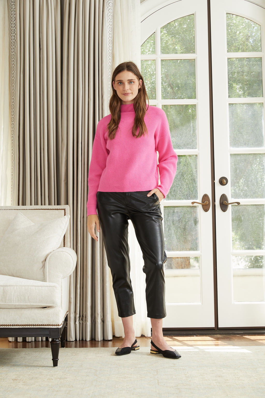 Pippa Pink Turtleneck Sweater