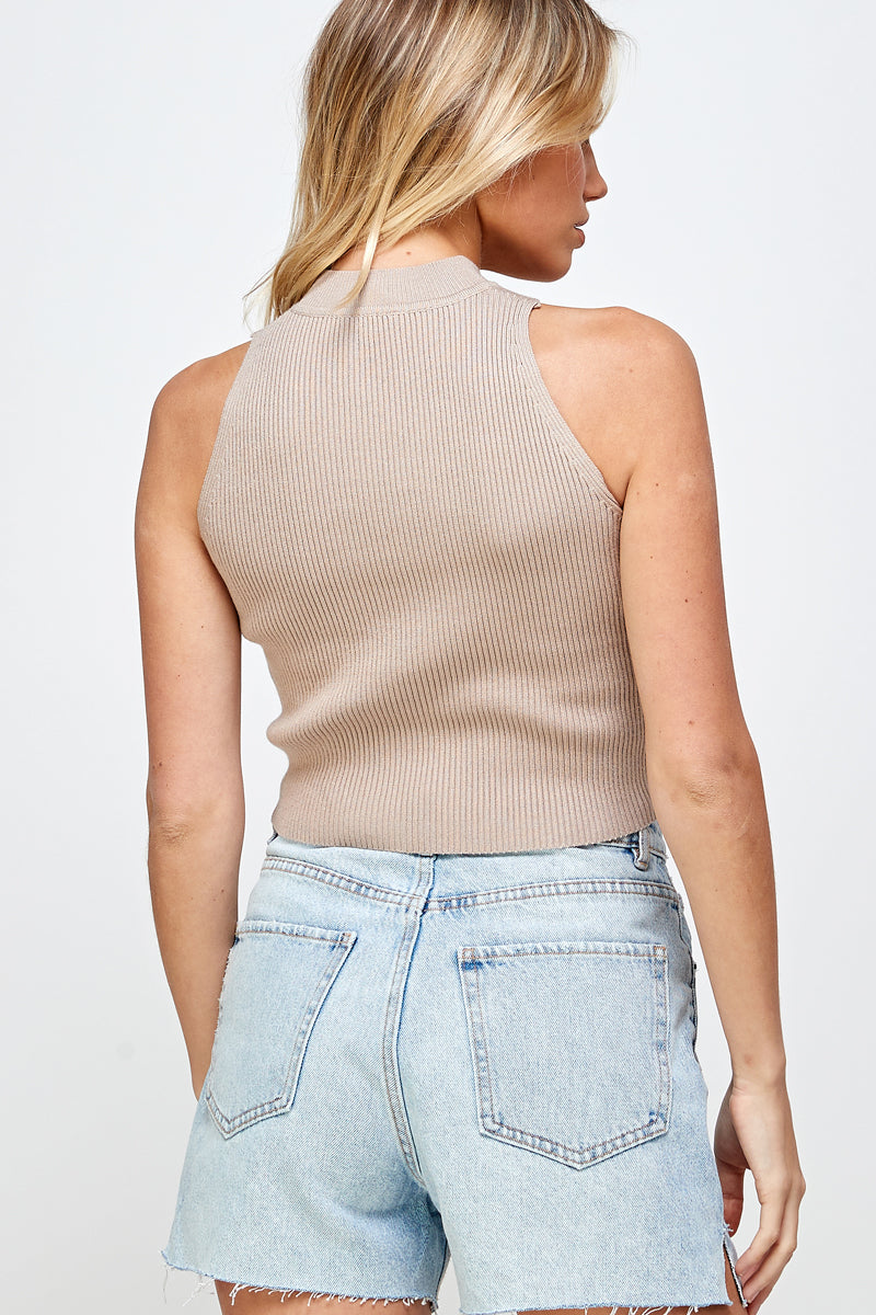 Mock Neck Knit Cropped Tanks