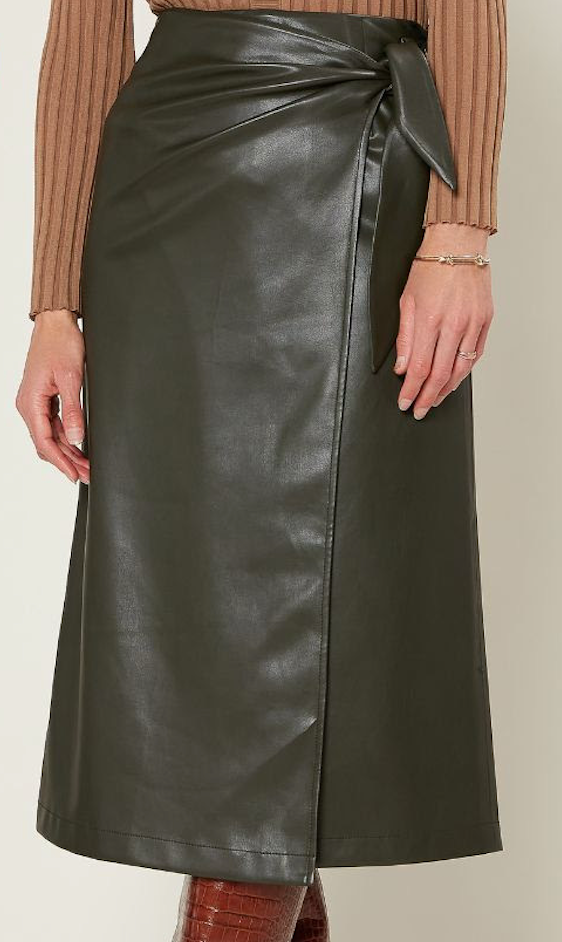 Pine Leather Wrap Skirt