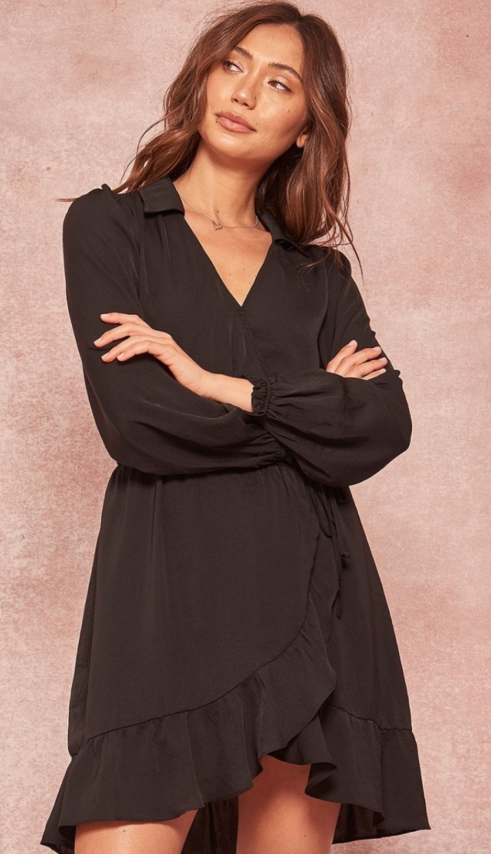 Black Tulip Wrap Dress