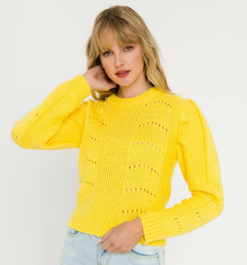 Pleated Yellow Sweater