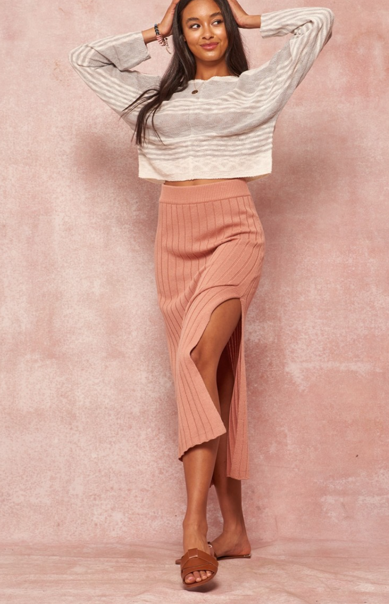 Dusty Peach Midi Skirt