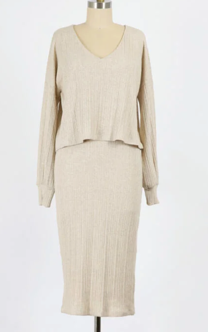 Ribbed Overlay Dress
