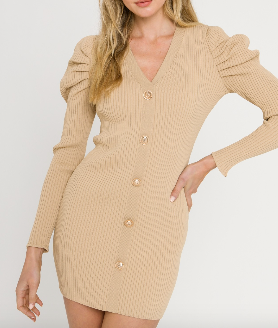 Tan Plunging Knit Dress