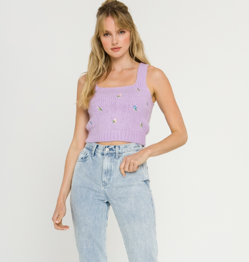 Lavender Embroidered Tank