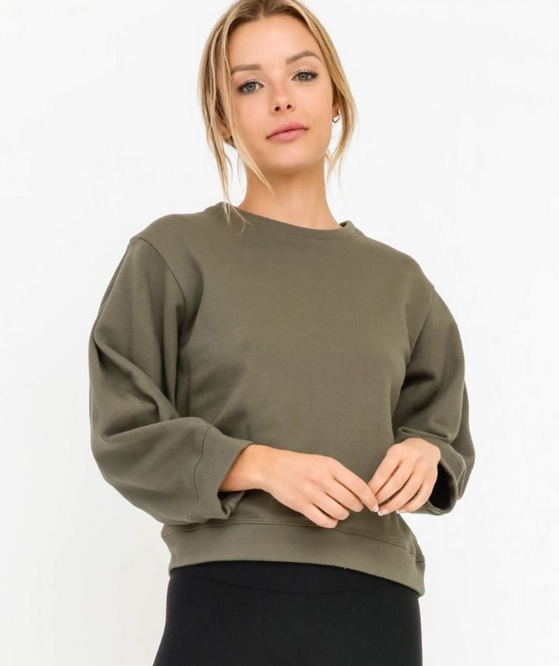 Olive Bubble Sleeve Sweatshirt