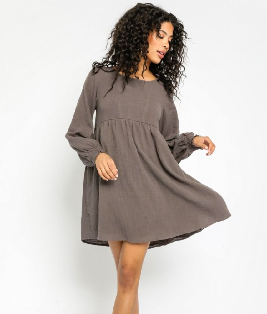 Gauze Long Sleeve Dress