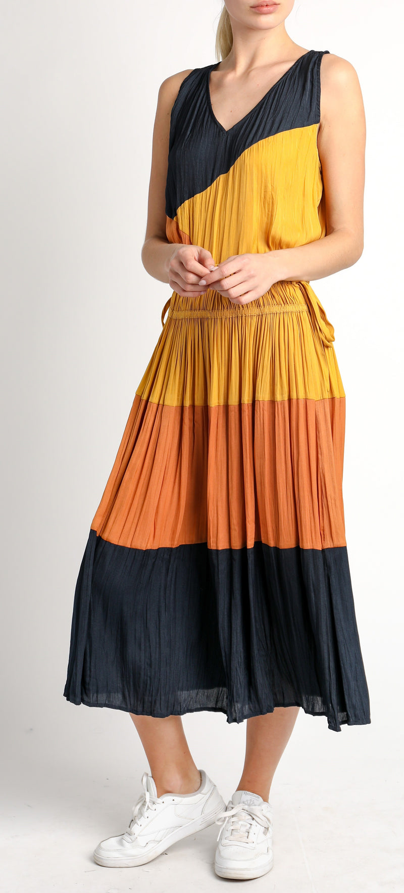 Crinkled Color Block Midi Skirt