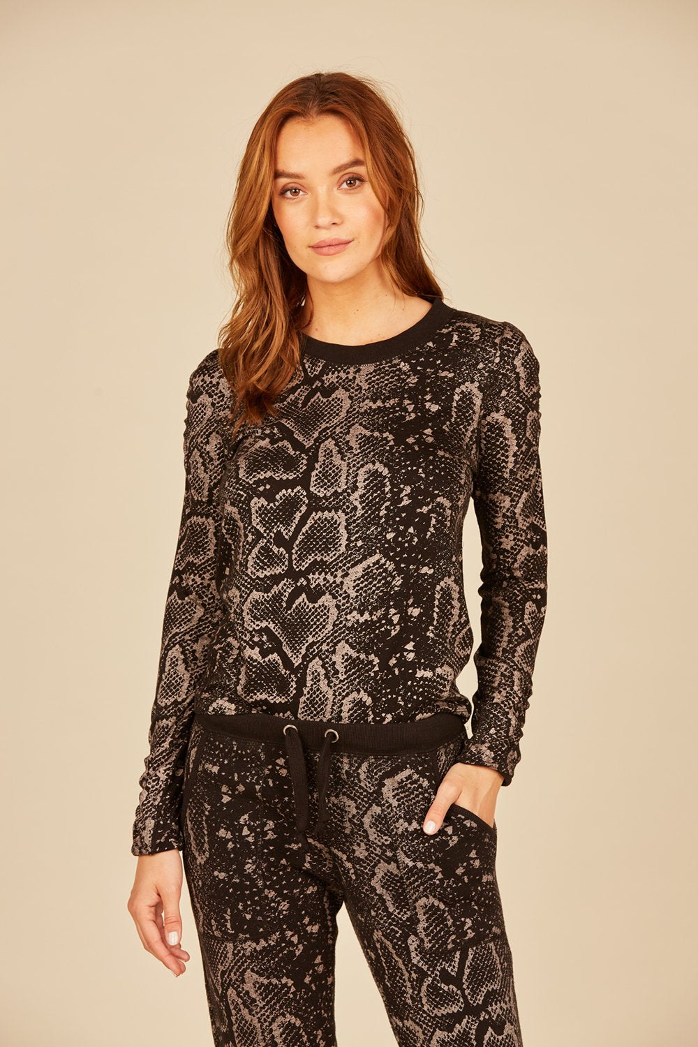 Black Metallic Snakeskin Top